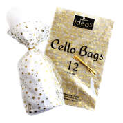 Cellophane Bags Gold Stars 12 Pack