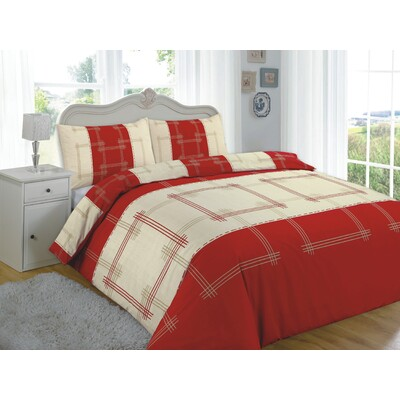 Quilt Cover Set Single Bed Patterned - Colour: Red