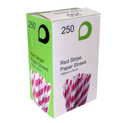 Paper Straws Red Stripe 250