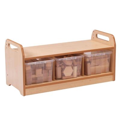 Low Storage Unit With Wooden Blocks