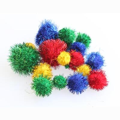 Pom Poms Assorted Glitter 100 Pack