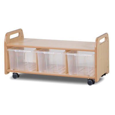 Mobile Low Level Unit With 3 Clear Tubs