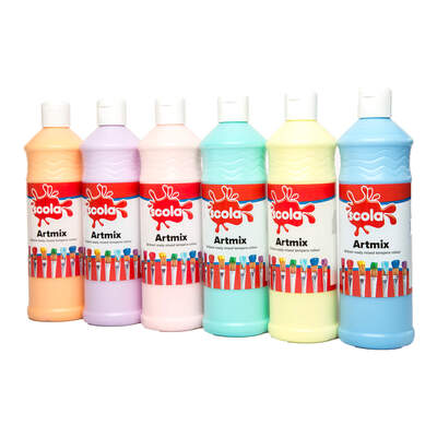 Ready Mixed Poster Paint Assorted Pastel 600ml 6 Pack