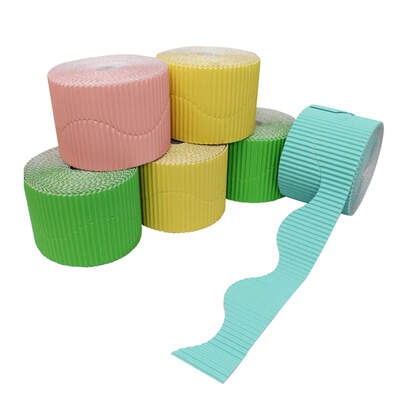Border Rolls Wavy Assorted Pastel 10cm x 15m 6 Pack