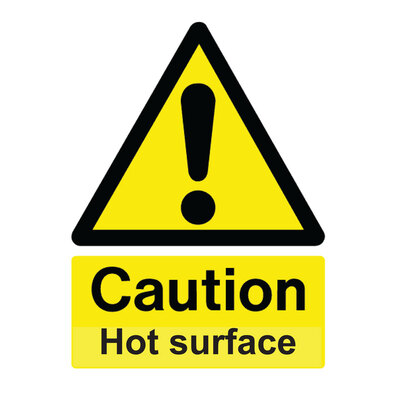 Caution Hot Surface Self Adhesive Sign x 4