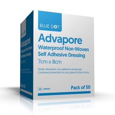 Self Adhesive Sterile Dressing Pad Waterproof 7cm x 8cm 50 Pack
