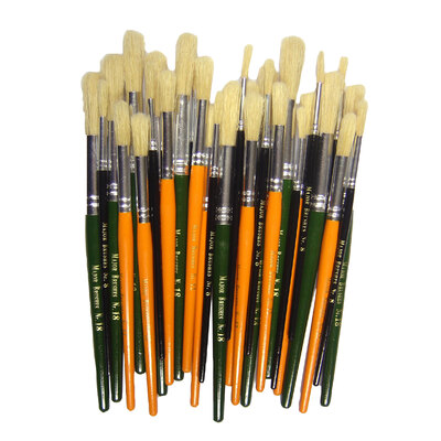 Natural Round Coloured Bristle Brush 30 Pack