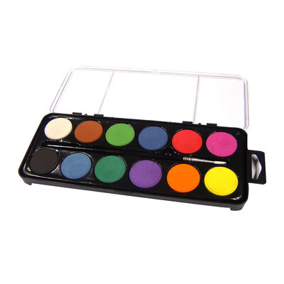 12 Disc Watercolour Paint Set With Brush