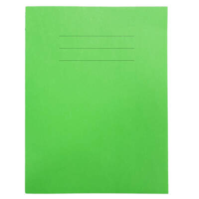 """Exercise Book 9x7"""" Lined 48 Page Box 50 - Colour: Green"""
