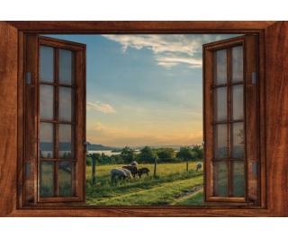 "Window Frame Wall Vinyl Lake& Sheep View 60"" x 40"""