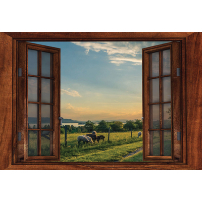 Window Frame Wall Vinyl Lake Sheep View 60 X 40 Gompels Healthcare