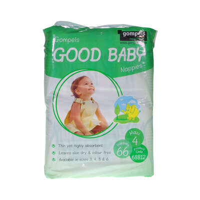 Gompels Baby Nappies Size 4 Maxi 66 Pack