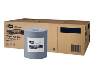 Tork Advanced Wiper 420 Blue Centrefeed Rolls x 6 M2
