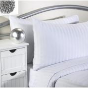 Pillow Case Pair 100% Cotton Satin Stripe White