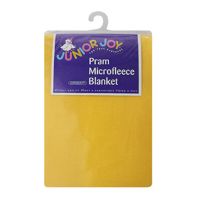 Pram Micro Fleece Blanket Lemon Yellow 75 x 100cm