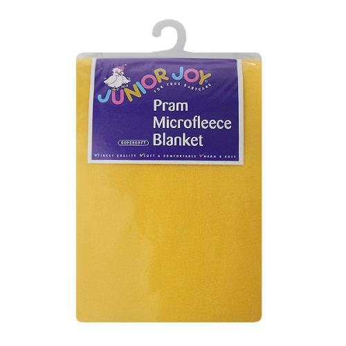 pram micro fleece blanket lemon yellow 75 x 100cm gompels