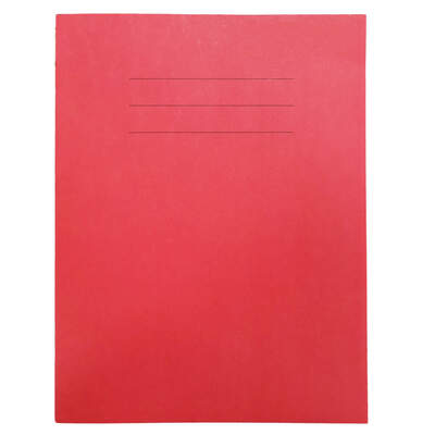 "Exercise Book 9x7"" Lined 24 Page Box 50 - Colour: Red"