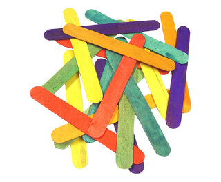 Coloured Wooden Jumbo Lolli Sticks 100 150mm x 18mm