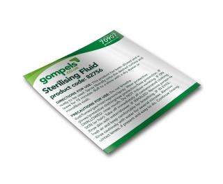 Labels for Gompels Sterilising Fluid 82756 x 6