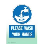 Hand Washing Non Marking Adhesive Sign A5
