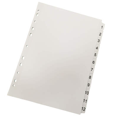 Subject Dividers 1-12 Mylar Tabs