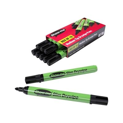 Dry Wipe Markers Medium Tip Black 10 Pack