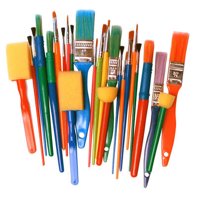 Kids Paint Brushes and Dabbers Assorted 25 Pack