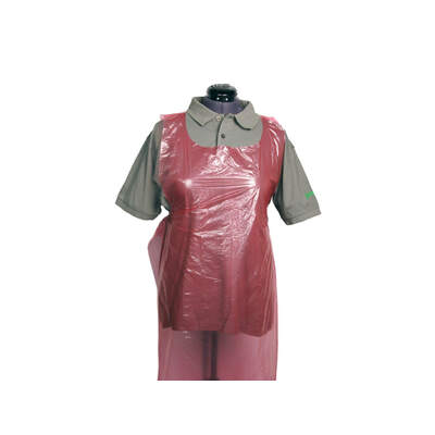 Disposable Premium Plastic Aprons - Rolls of 200 - Colour: Red