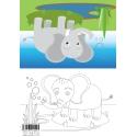 Animal Colouring Card Elephant A5