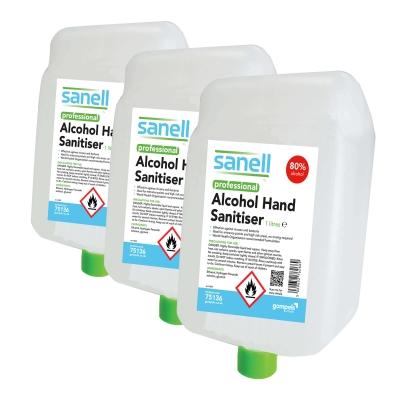 Sanell Alcohol Hand Sanitiser 1000ml Cartridge 3 Pack