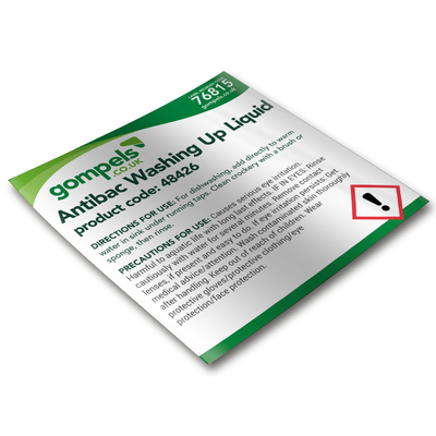 Labels for Gompels Antibacterial Washing Up Liquid 48426 x 6