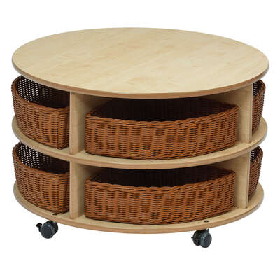 Double Tier Mobile Circular Storage H540 Mm With 8 Baskets