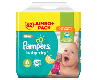 Pampers Baby Dry Jumbo Size 6 Giant 62 Pk