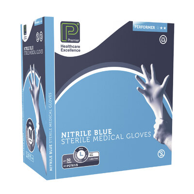 Sterile, Powder-Free Nitrile Gloves Large 50prs