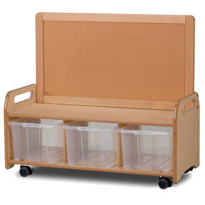 Low Display Storage Unit With Castors - Type: Clear Tubs