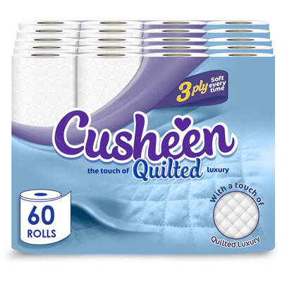 Cusheen Luxury Quilted Toilet Paper 3ply 60 Pack