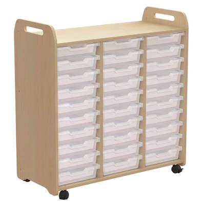 Tray Storage 3 Column H1080mm With 30 Shallow Clear Trays