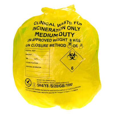Clinical Waste Sacks Yellow Medium Duty 200 Pack