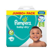 Pampers Baby Dry Nappies Size 5+ 68 Pack