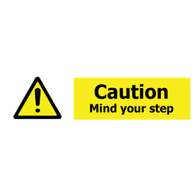 Caution Mind Your Step Self Adhesive Sign x 3