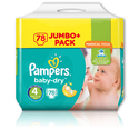 Pampers Baby Dry Jumbo Size 4 Maxi 78 Pk