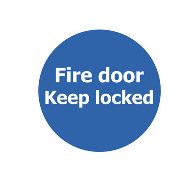 Fire Door Non Marking Adhesive Sign x 3 - Design: Keep Locked