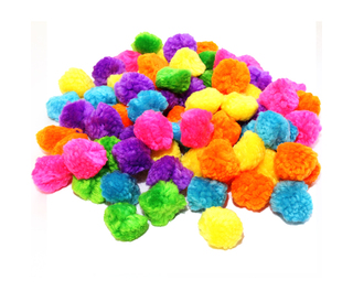 Pom Poms Assorted Woolly 25mm 100 Pack
