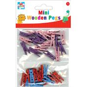 Coloured Mini Wooden Pegs Assorted 40 Pack
