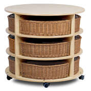 Triple Tier Mobile Circular Storage H770mm With 12 Baskets