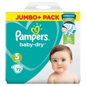 Pampers Baby Dry Jumbo Size 5 Junior 72 Pk