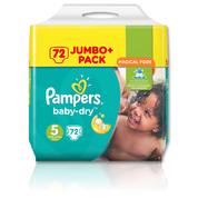Pampers Baby-Dry Nappies Size 5 Junior 72 Pack