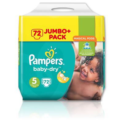 Pampers Baby Dry Nappies Size 5 Junior 72 Pack Gompels