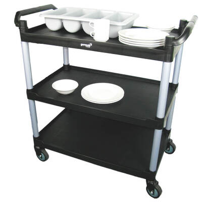 Soclean Clearing Trolley Three Tier Black