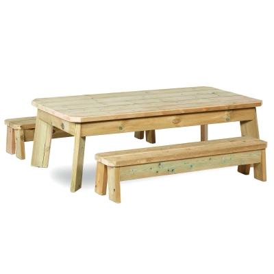 Wooden Outdoor Rectangular Table and Bench Set Preschool